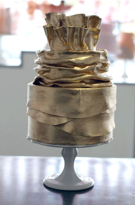 Shimmering Gold Tiered Cake with Gathered Design