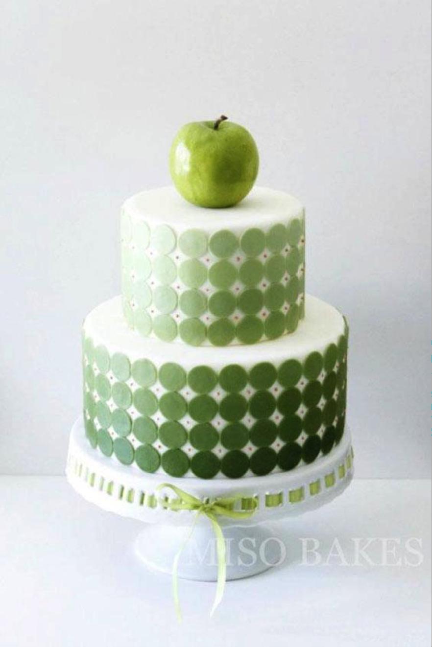 Green Apple Sitting Atop Green Polka Dot Cake