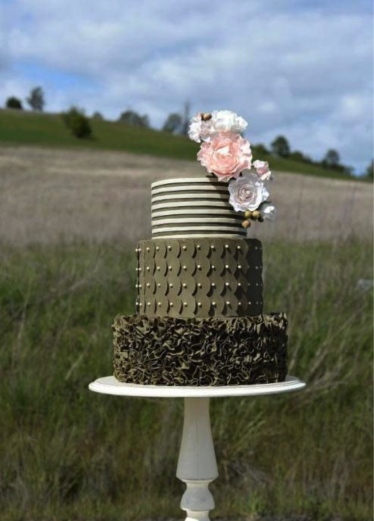Tiered Cake Against Pastoral Background