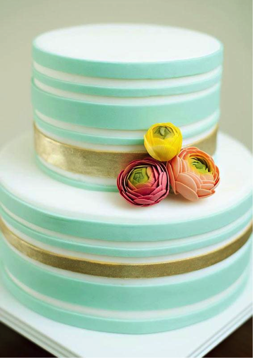 Green Stripe Cake with Gold and Flowers