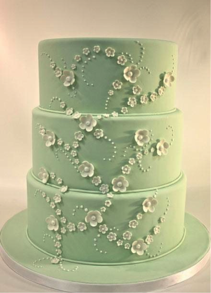 Tiered Cake with White Flower Pattern
