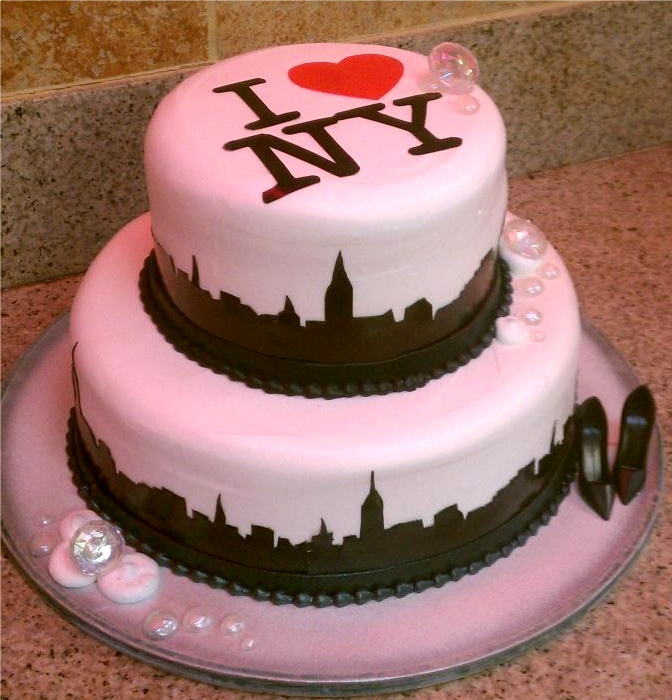 "Pink Cake with Bubbles and ""I Love NY"" Top"