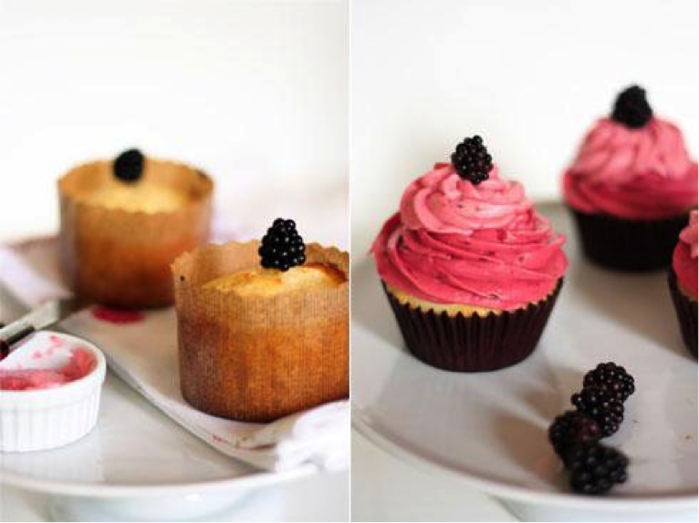 Two Kinds of Lemon Cupcakes Topped with Blackberries