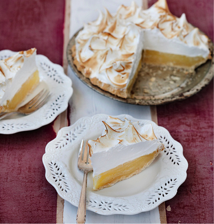 Lemon Meringue Pie with Pieces out on Plates