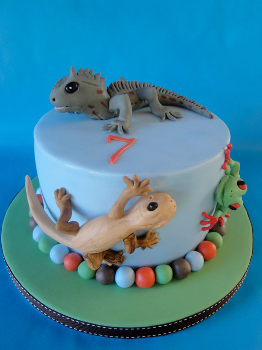 Birthday Cake with Lizard on Top
