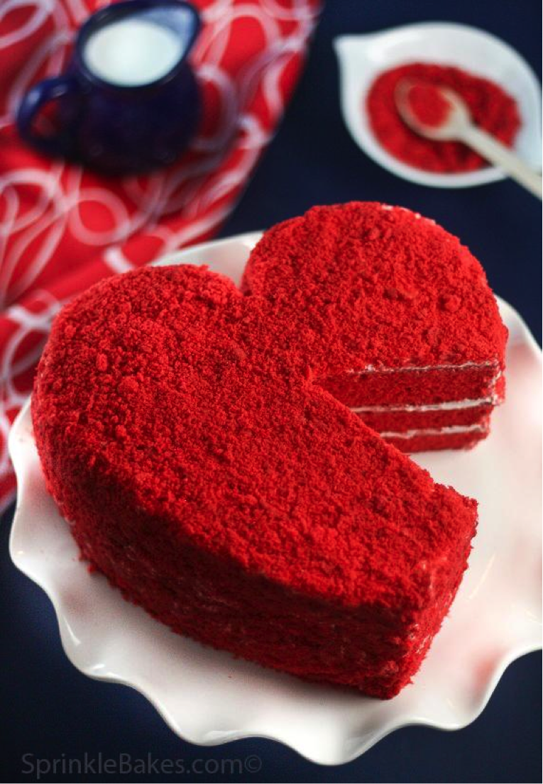 Red Heart Cake with Slice Missing