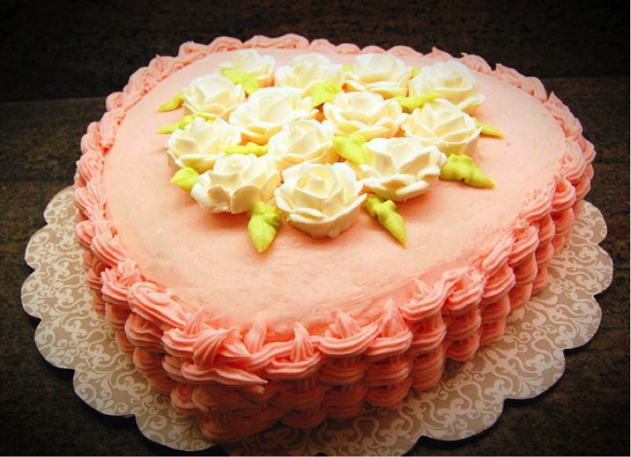 Pink Basketweave Heart Cake with White Flowers