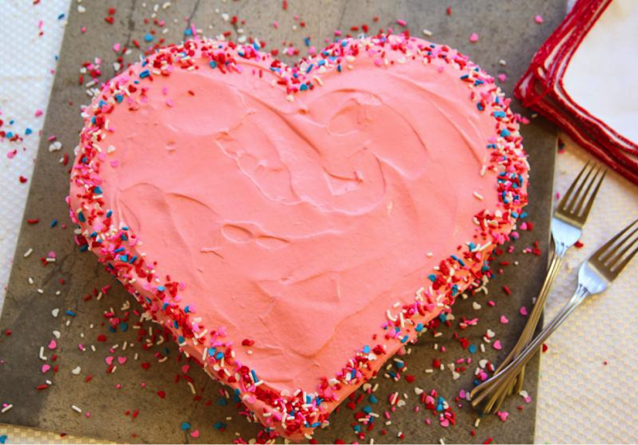 Pink Heart Cake with Sprinkles Along Edges