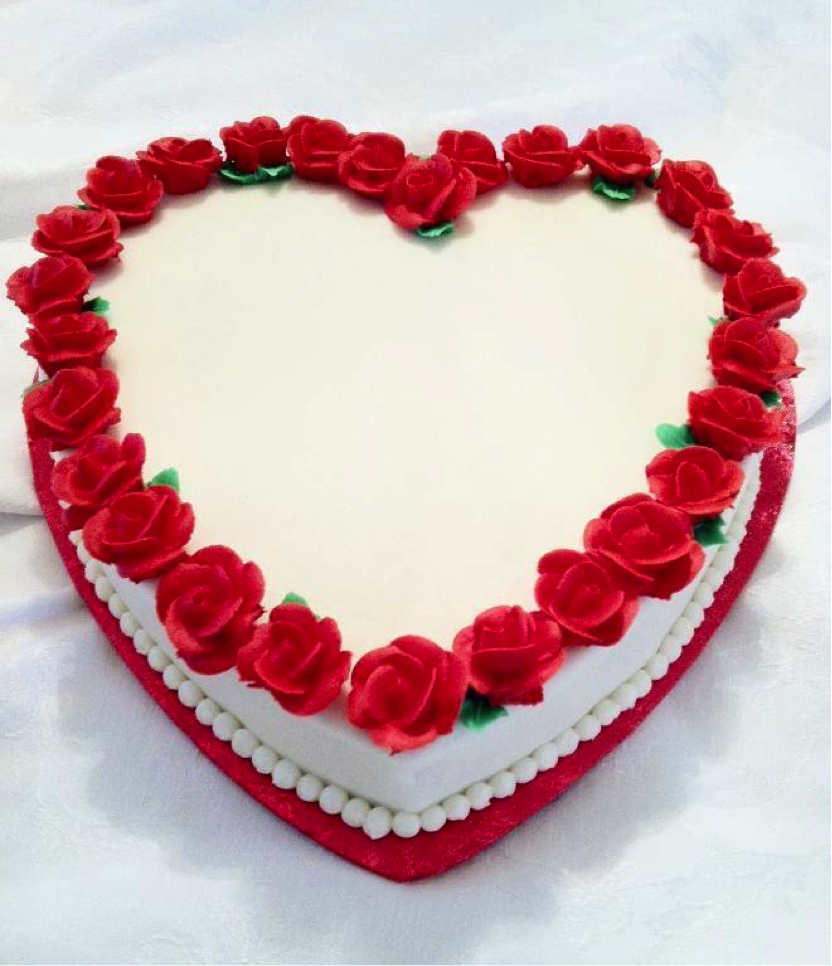 White Cake with Red Roses on Edges