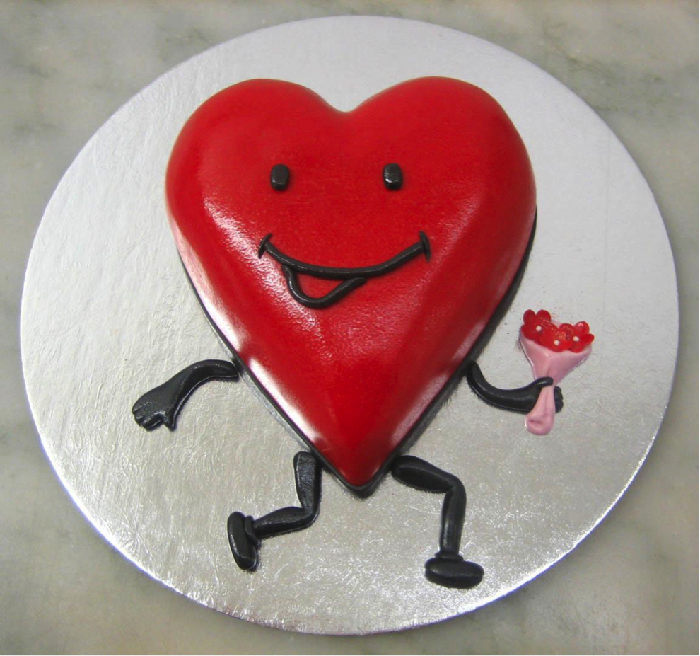 Heart Cake with Smiley Face, Running with Flowers