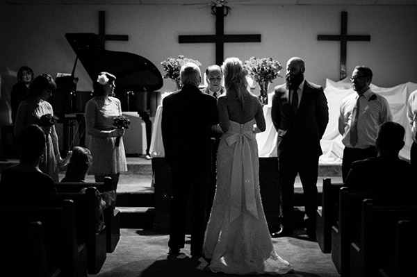 Father and Bride at Wedding Ceremony, Shot in Black and White