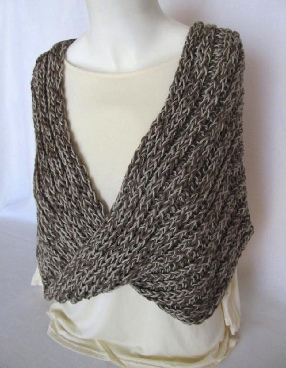 Grey Mobius Shawl Wrapped Around Mannequin