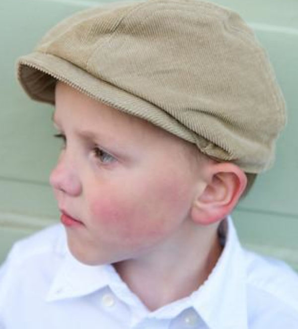 Boy Wearing Green Corduroy Hat