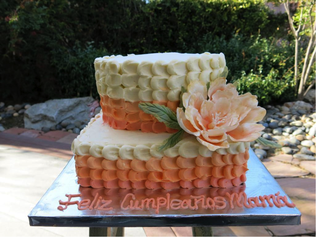 Peach Ombré Birthday Cake with Large Flower