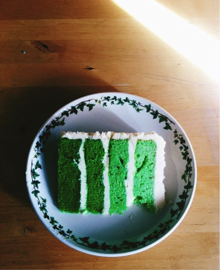 Slice of Green Ombré Cake on Plate