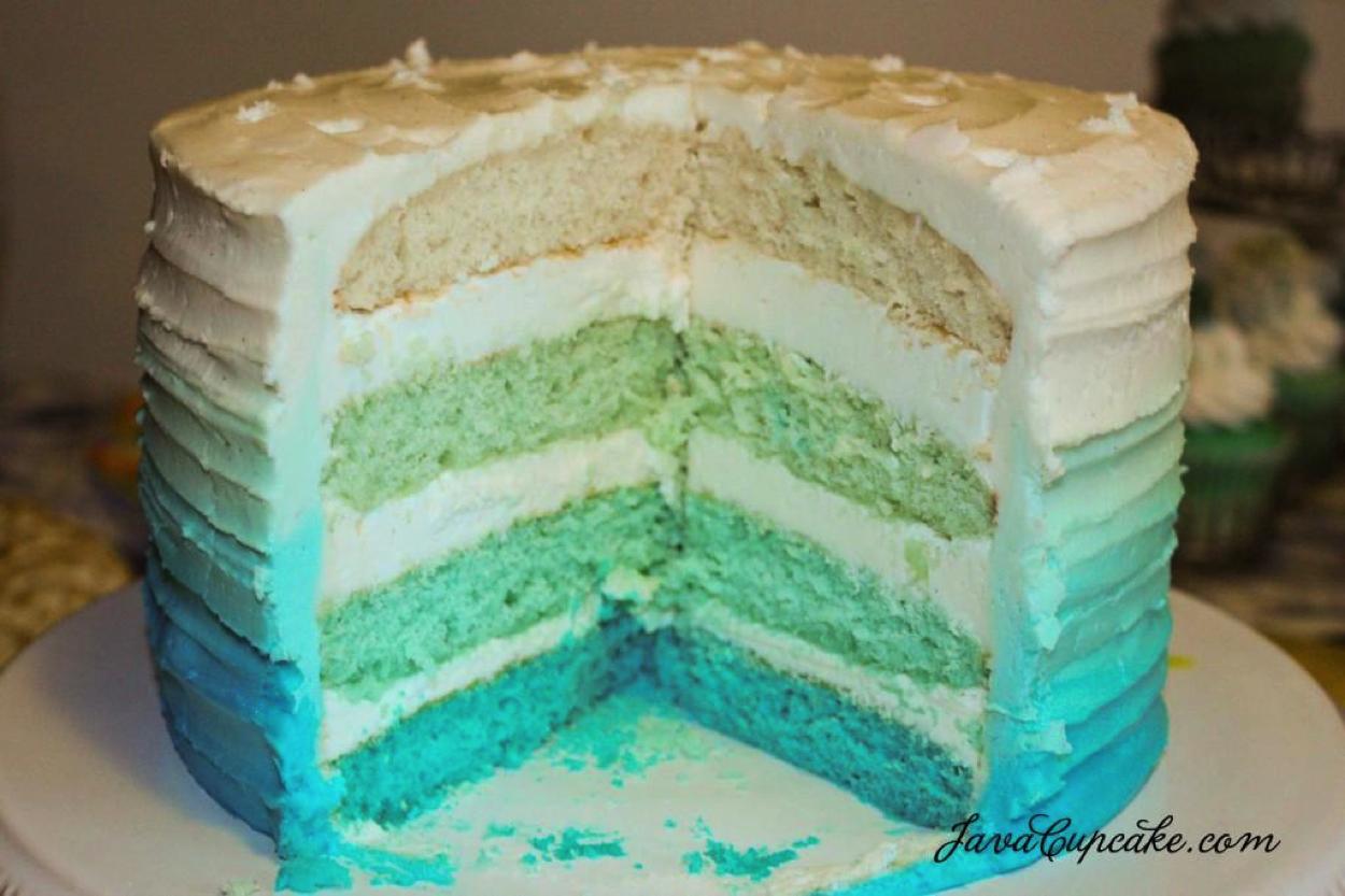 Inside Look at Blue Ombré Cake (Sliced)