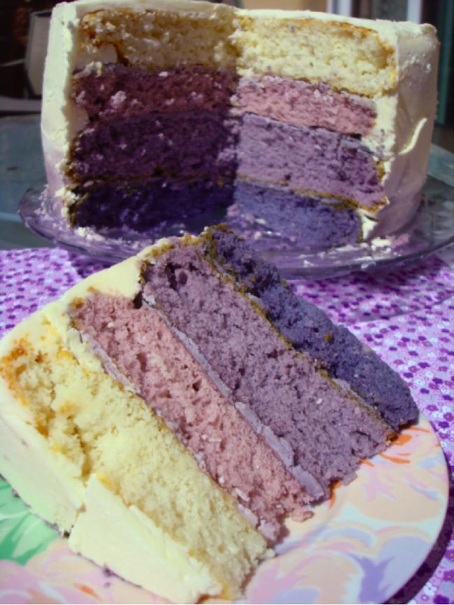 Inside view & Slice of Purple Ombré Cake