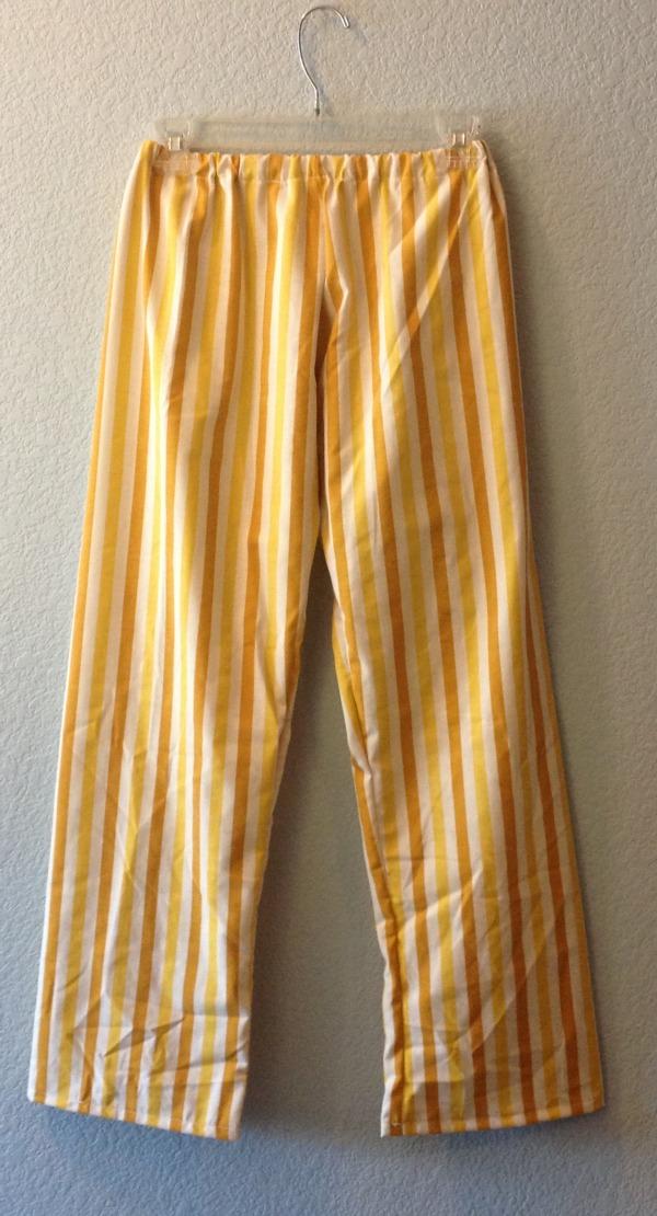 Yellow Striped Pajama Pants on Hanger