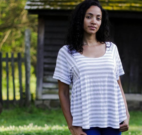 Woman in Stripped Shirt with Natural Background
