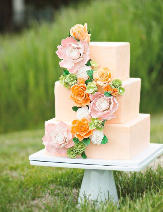 Peach-Colored Square Tiered Wedding Cake with Flowers