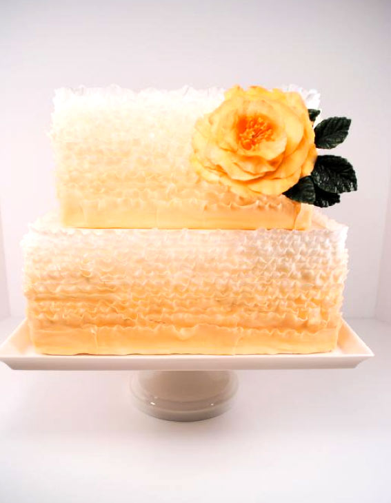 Pastel Orange Square Frill Cake