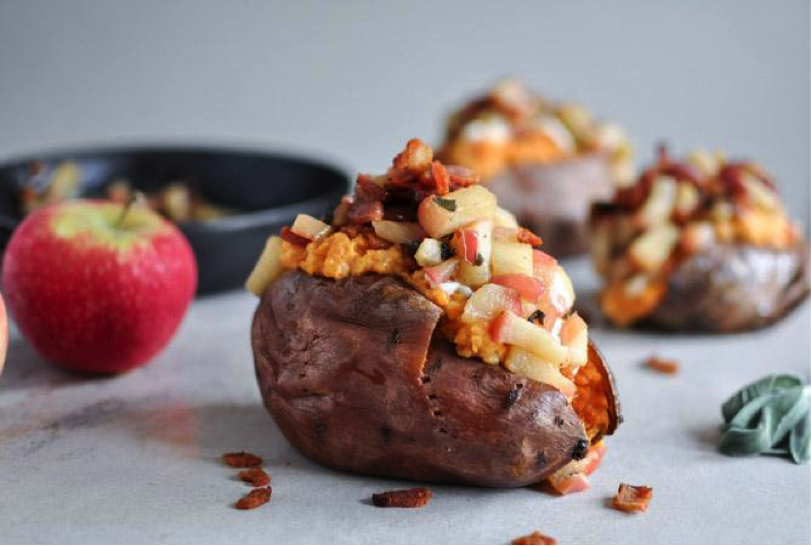 Potato Stuffed with Apple Bacon Filling, Next to Strawberry
