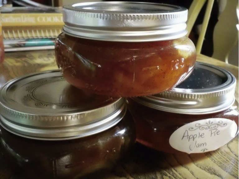 Jars of Apple Jam Stacked on Top of Each Other