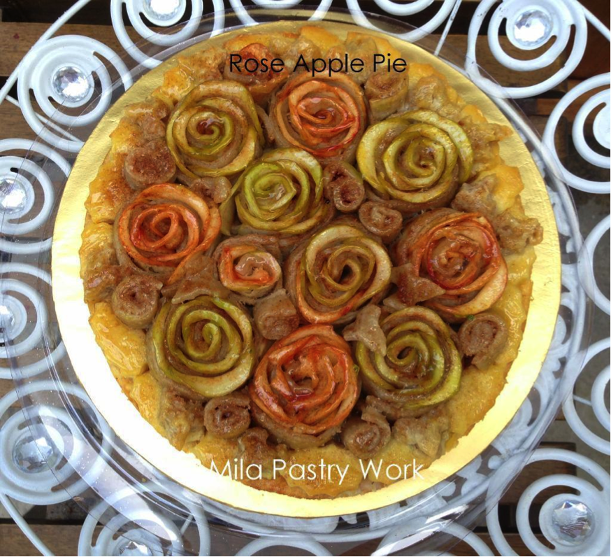 Apple Pie with Rose-Shaped Apples on Top