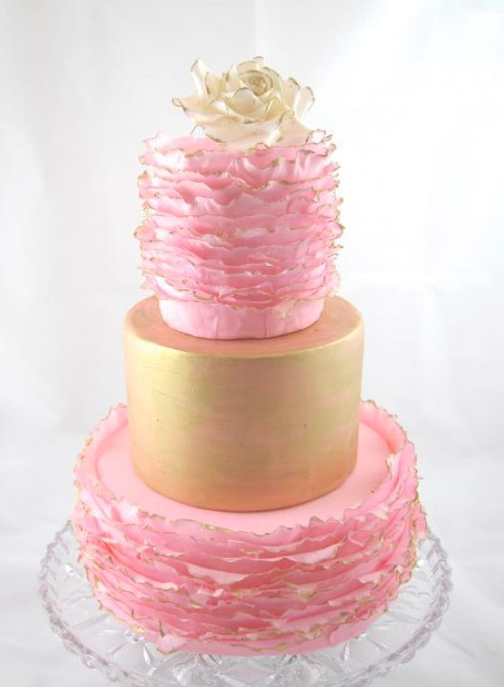 Gold and Pink Tiered Wedding Cake