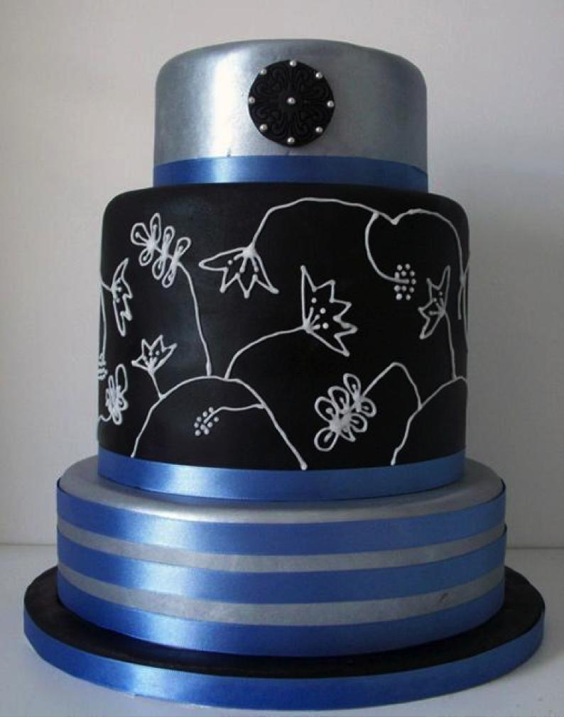 Black Piped Cake