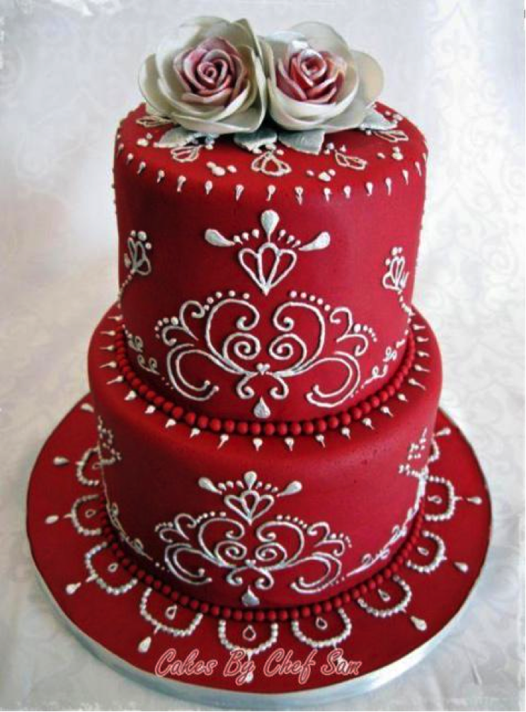 Red Piped Cake