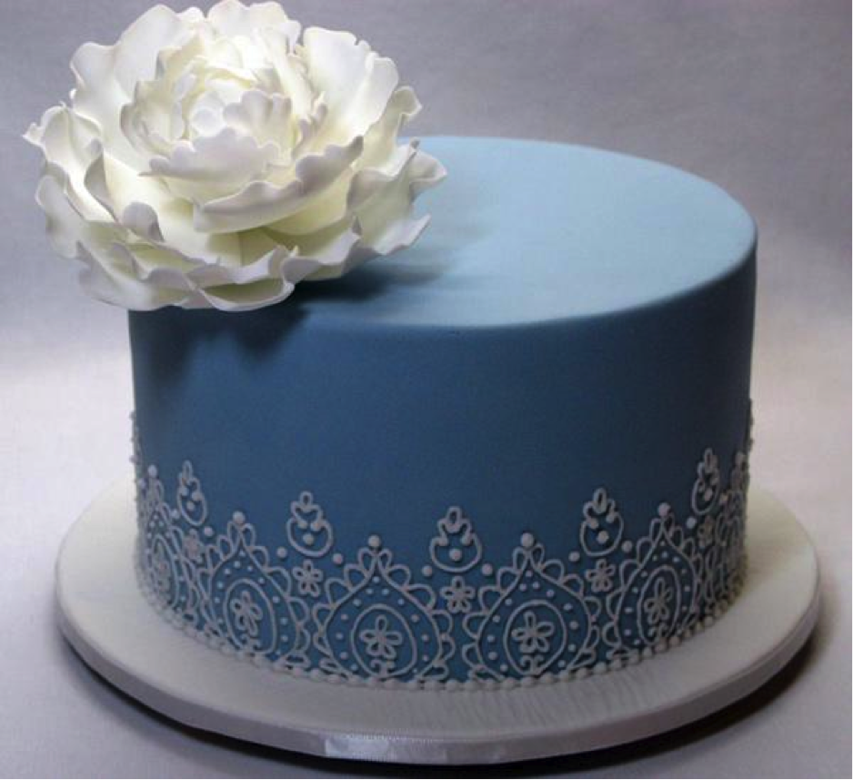 Blue Piped Cake