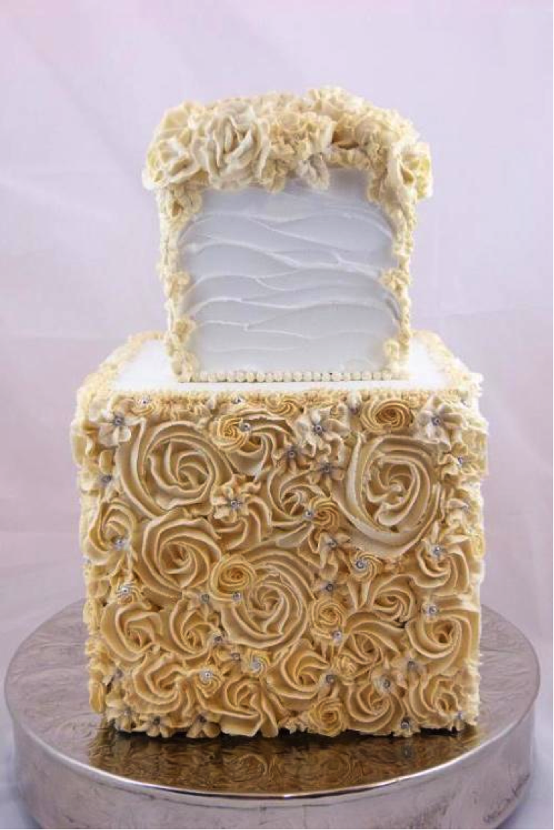 Square Piped Cake