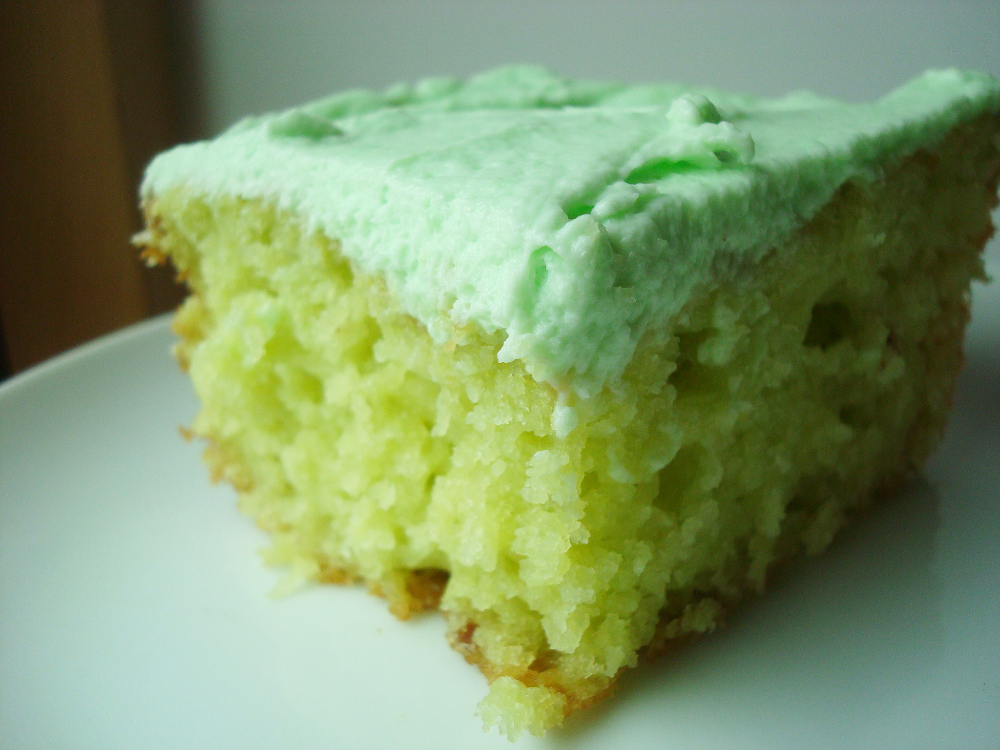 Slice of Green Cake with Green Icing