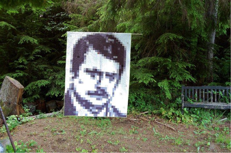 Pixel Quilt of Man's Face, Natural Background