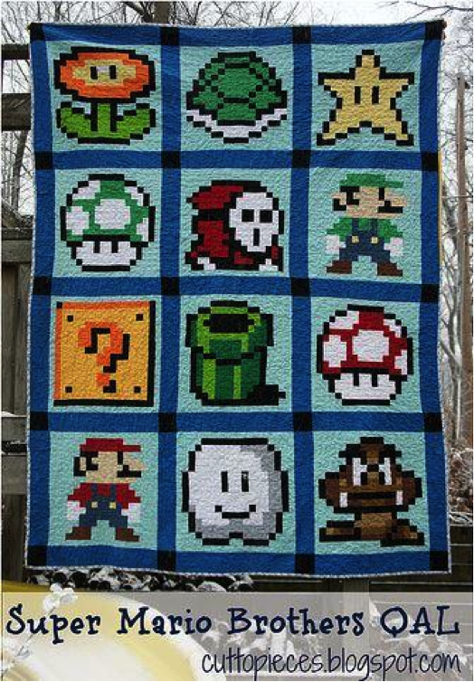 Pixel Quilt Featuring Mario Brothers Characters