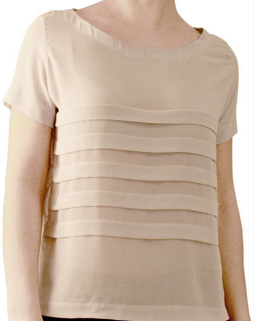 Woman's Torso with Beige Pleated Shirt
