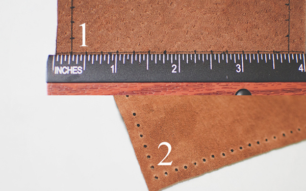 Leather Pieces with Ruler on Top