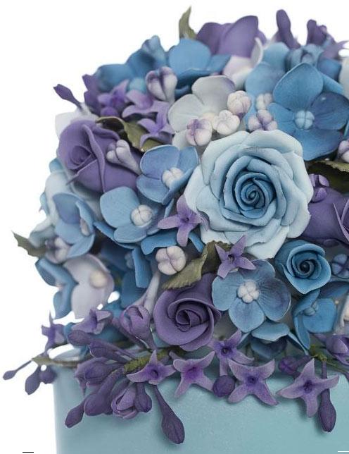 Close Up of Floral Details on Cake