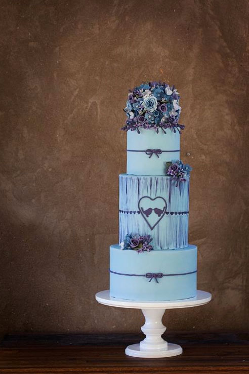 3-Tiered Cake with Purple Floral Decoration