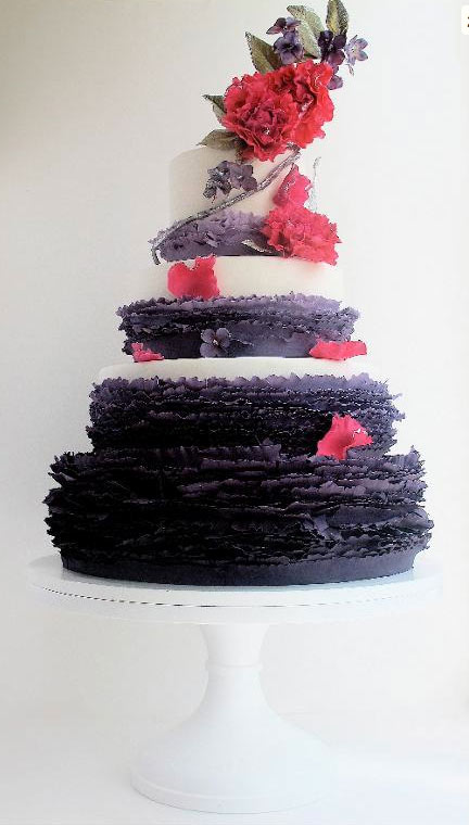 Cake with Purple Frills and Red Flowers