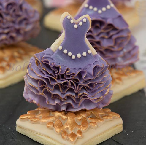 Cookies Topped with Ruffled Purple Dresses
