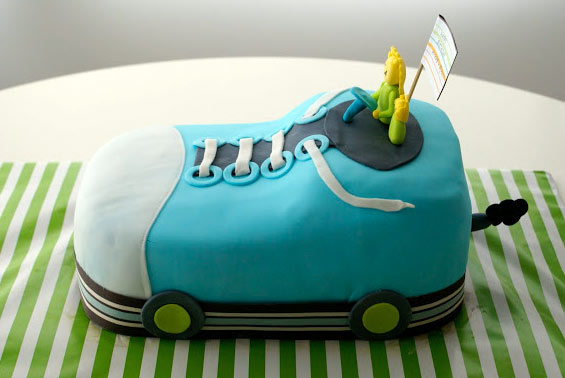 Cake in Shape of Blue Sneaker Car