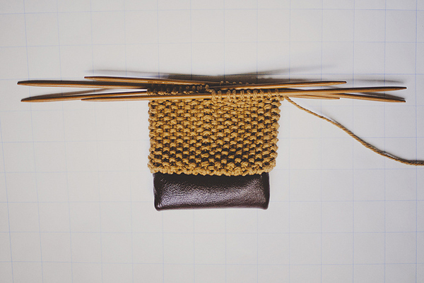 Knit and Leather Sunglasses Case Still Attached to Needles