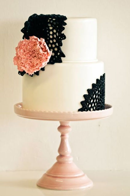 White Tiered Cake with Black Lace and Pink Rose