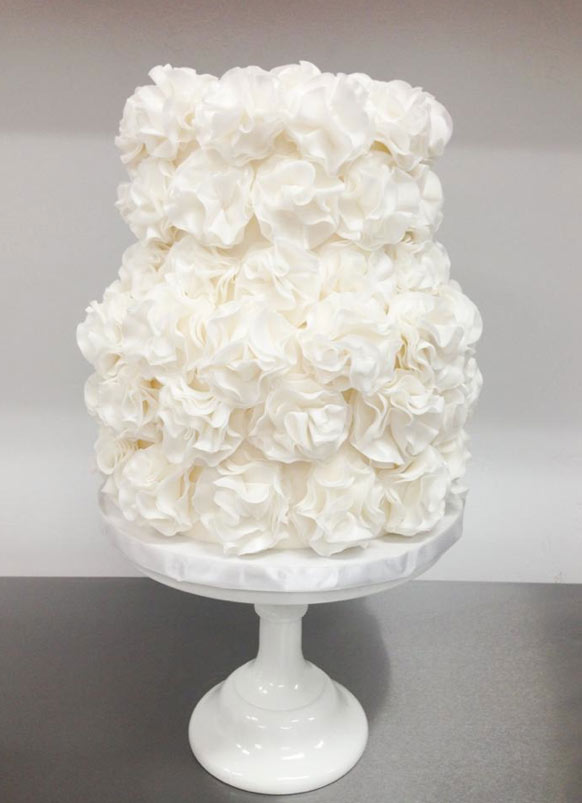 Two Tiered Frilled White Cake