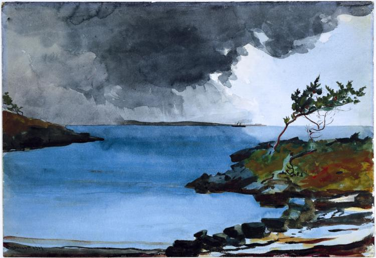 Painting of Deep Blue Bay in Stormy Weather