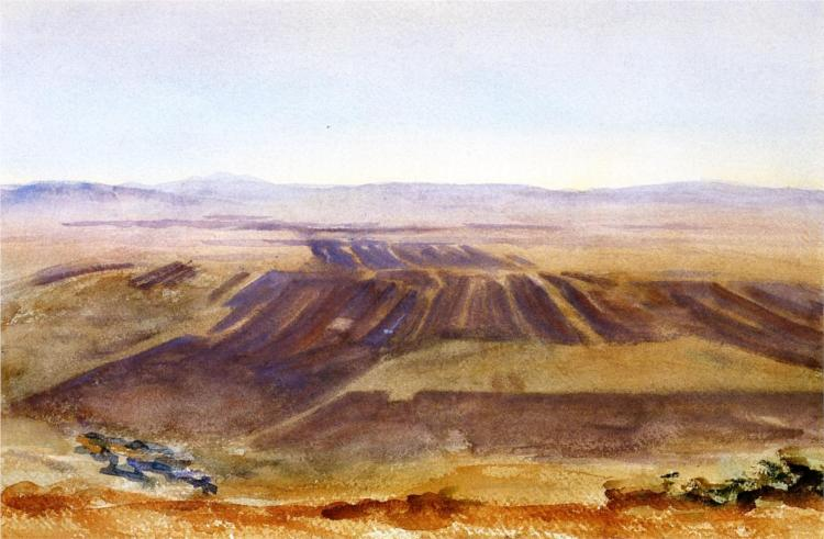 Painting of Brown Farm Countryside, Hills in Background