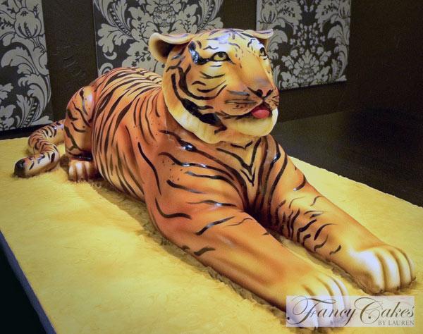 Large Sculpted Tiger Cake