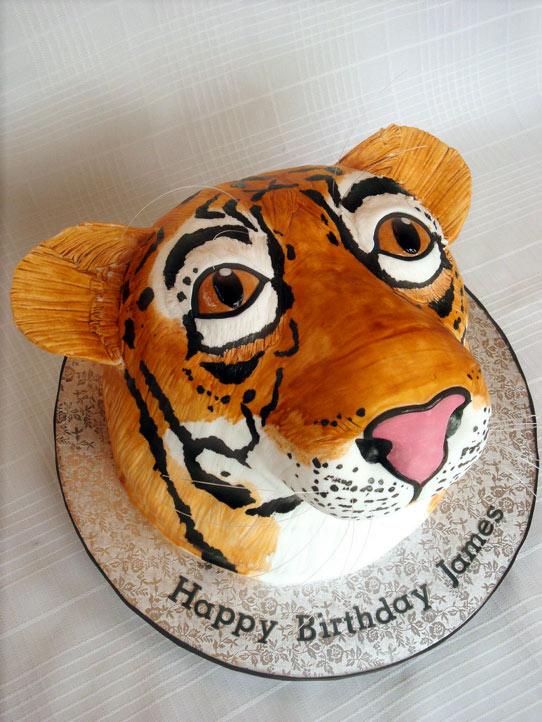 Sculpted Tiger Head Cake